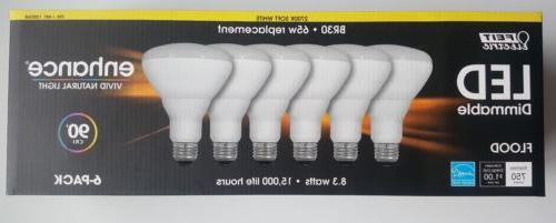6 BULBS LED FEIT ELECTRIC BR30 FLOOD 65W=8.3W WATTS DIMMABLE