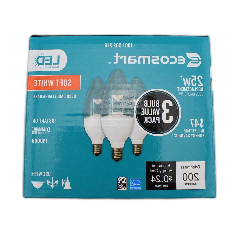12 B11 Dimmable White Candelabra Bulb