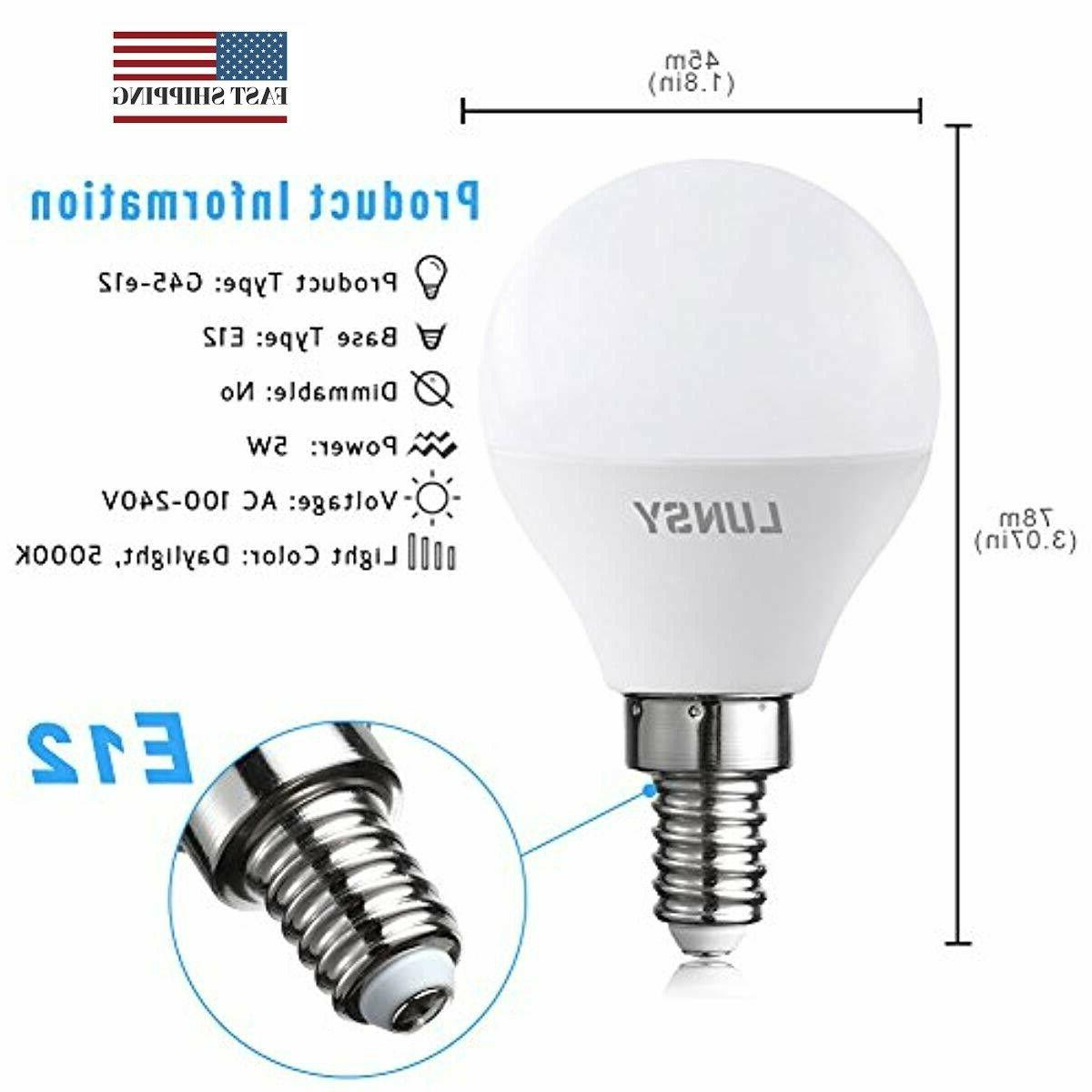 6 LED Candelabra E12 Bulb 50W Equivalent, Daylight Whit
