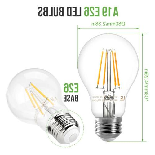6 Pack A19 Filament Bulbs 4W 2700K Warm E26