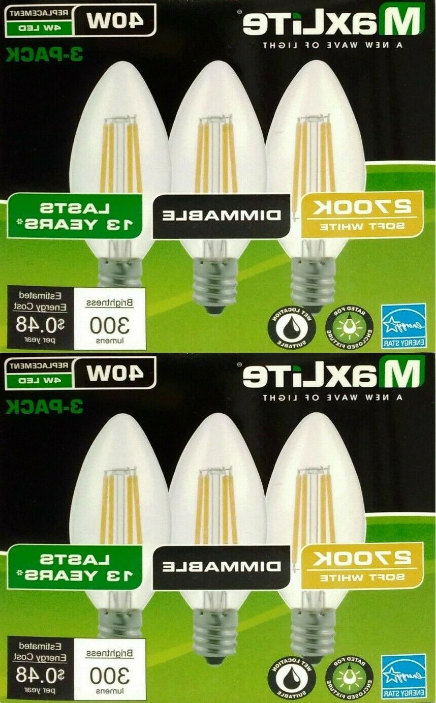 6 pack b10 led light bulbs 2700k