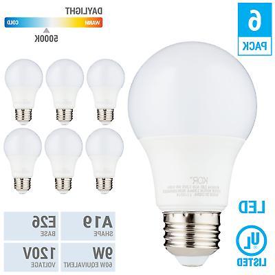 6 pack led a19 bulb 9w 60w