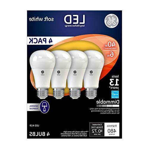 GE Lighting 67607 LED A19 Medium 7-Watt, White, 4-Pack,