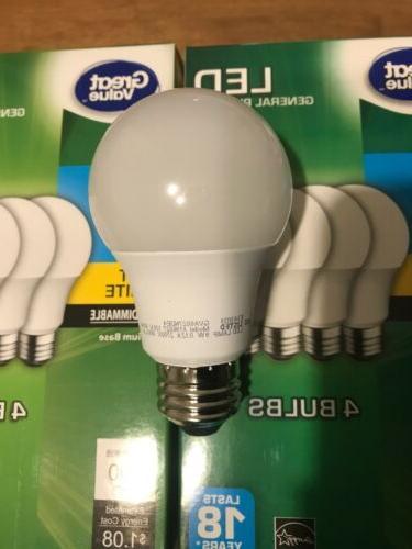 8 PACK LED = 60 Equivalent A19 2700K