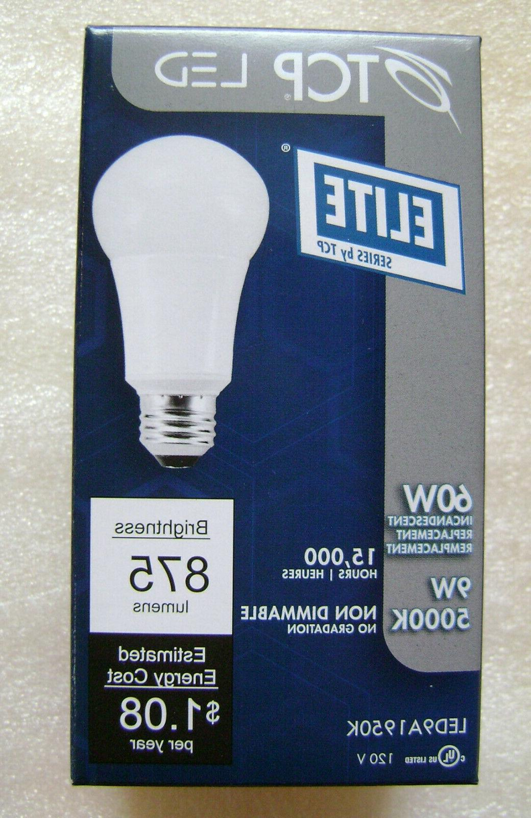 2x 9W A19 LED 5000K 60W Equal Non Dimmable Light Bulb TCP LE