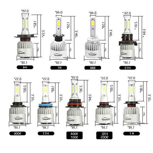 VoRock8 H11 H8 H16 LED Headlight Conversion Kit, Low Driving Halogen Head Replacement, 6500K 1 Pair- 1
