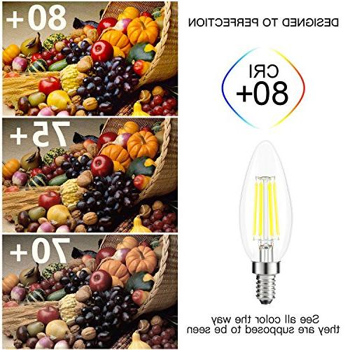 Kohree Bulbs, 4 Watt 440 Lumen 5000K E12 Led Bulb Base 40W Equivalent Chandelier Candle 6 Pack,
