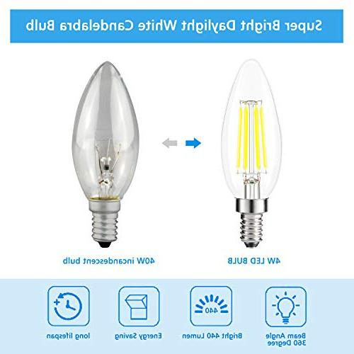 Kohree Candelabra Bulbs, 4 440 5000K Daylight Led Base Equivalent LED Edison