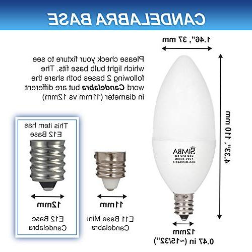 LED Candelabra Bulbs B11 Candle Shape Base by | 6W 60W Replacement 120V Chandelier, Cover, Non-Dimmable, Daylight Pack
