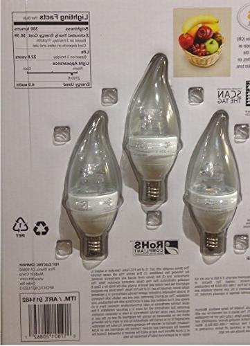 Feit 4.9 Watt LED Candelabra Light Bulbs 3-Pack