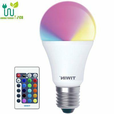 TIWIN Dimmable A19 E26 LED Bulbs, 16 Color Choice, Memory Fu