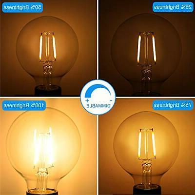 Dimmable Edison Light Bulb, Globe 6 Equivalent