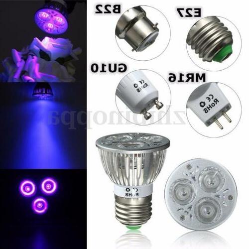 E27/B22/GU10/MR16 3W UV Ultraviolet Purple LED Spot Light Bu