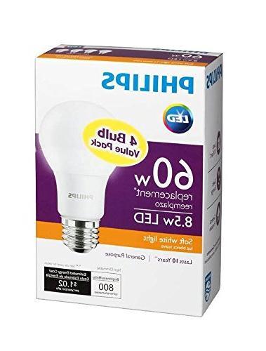 Philips New 60-Watt Equivalent A19 LED Light Soft - -