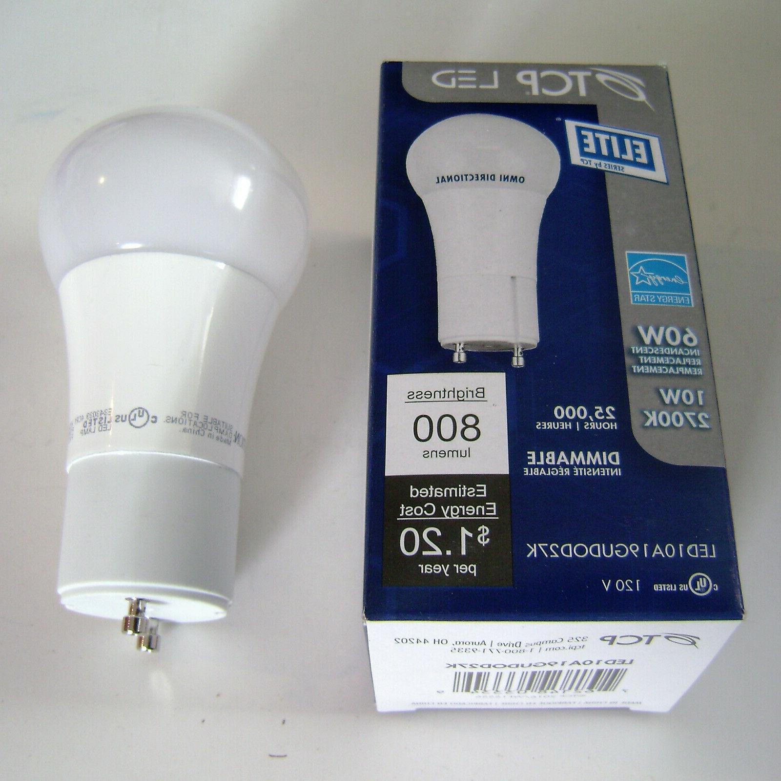 TCP 10W  2700K GU24 Dimmable LED Light Bulb LED10A19GUDOD27K