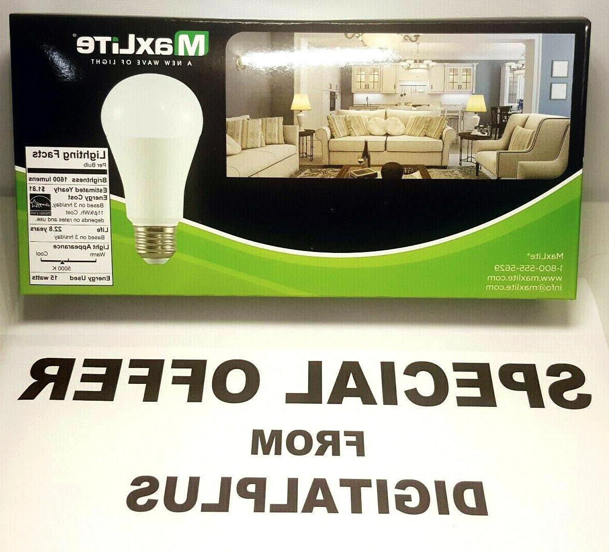 LED Daylight Dimmable Light Bulb 15-Watt 100 Equivalent 5000k QTY Maxlite