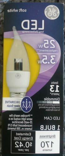 GE LED Decorative Light Bulb 25w = 3.5w Clear Soft White Dim