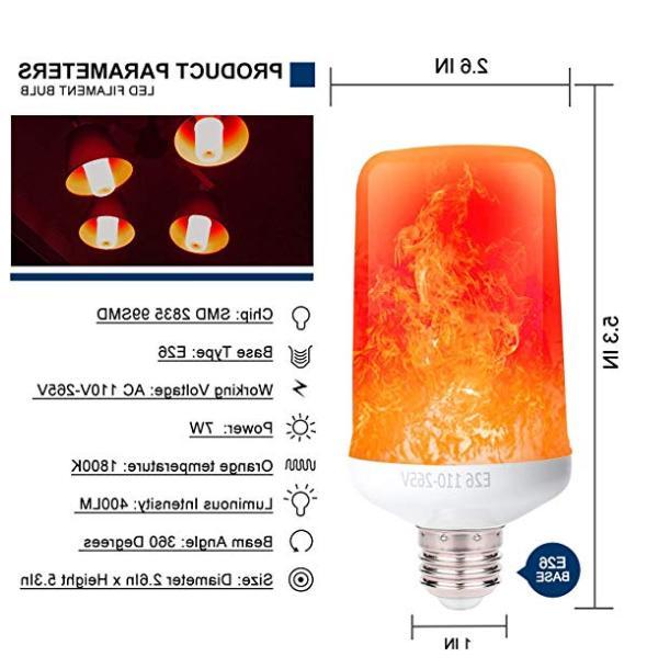 LED Bulb 2Pack 4 Modes Flame Gravity