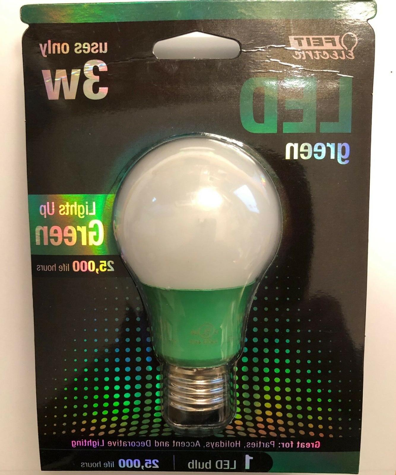 led light bulb green 3 watt a19