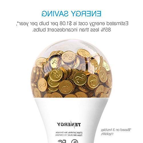 Tenergy Light Bulb, 9 watts E26 Standard 5000K Daylight White Energy Saving Bulbs Office/Home