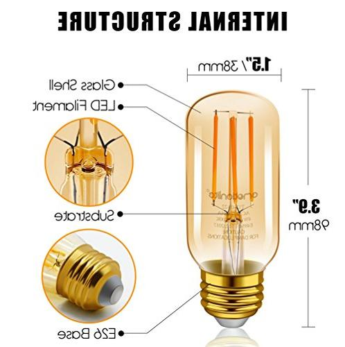 Emotionlite LED E26 Dimmable Vintage Tubular 2200K Medium Base, 6