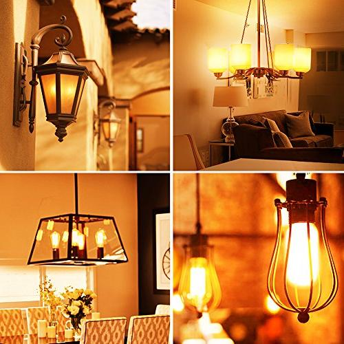 Emotionlite LED E26 Dimmable Vintage Tubular Bulb, Equivalent, 2200K Amber, 4W, 300LM, Medium UL Listed, 6
