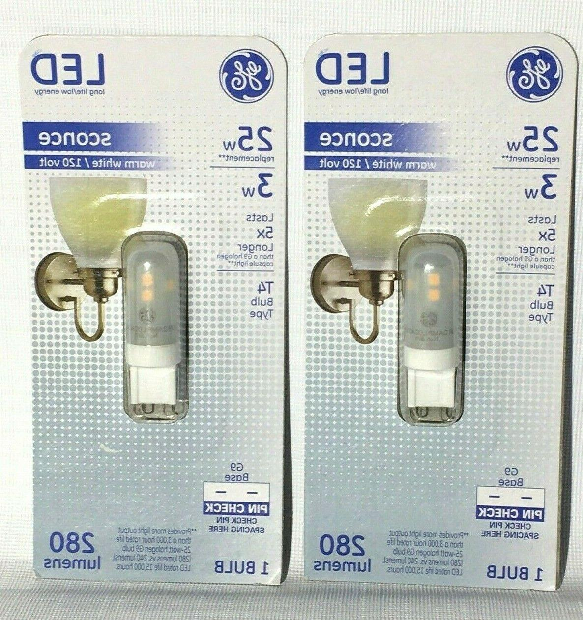 GE Lighting 29008 Frosted G9 Base T4 LED Sconce Light Bulb,