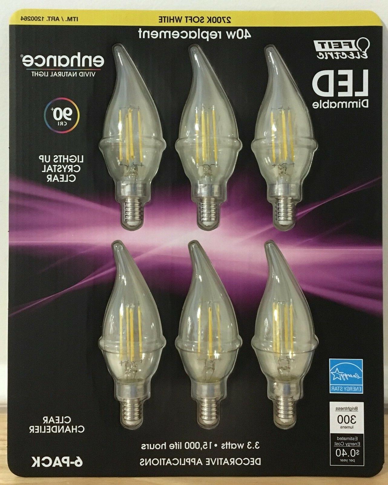 NEW 6 Feit LED E12 Soft White Chandelier Bulbs 40w 3.3w