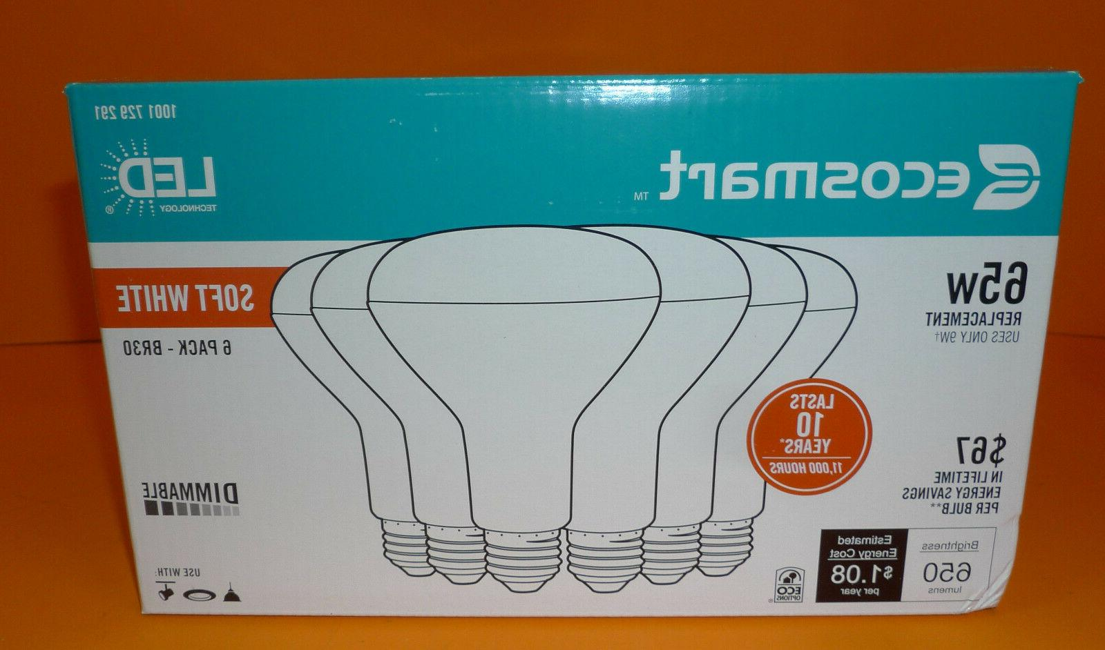 NEW EcoSmart 65W Soft White BR30 Dimmable LED Light Bulb 6-P