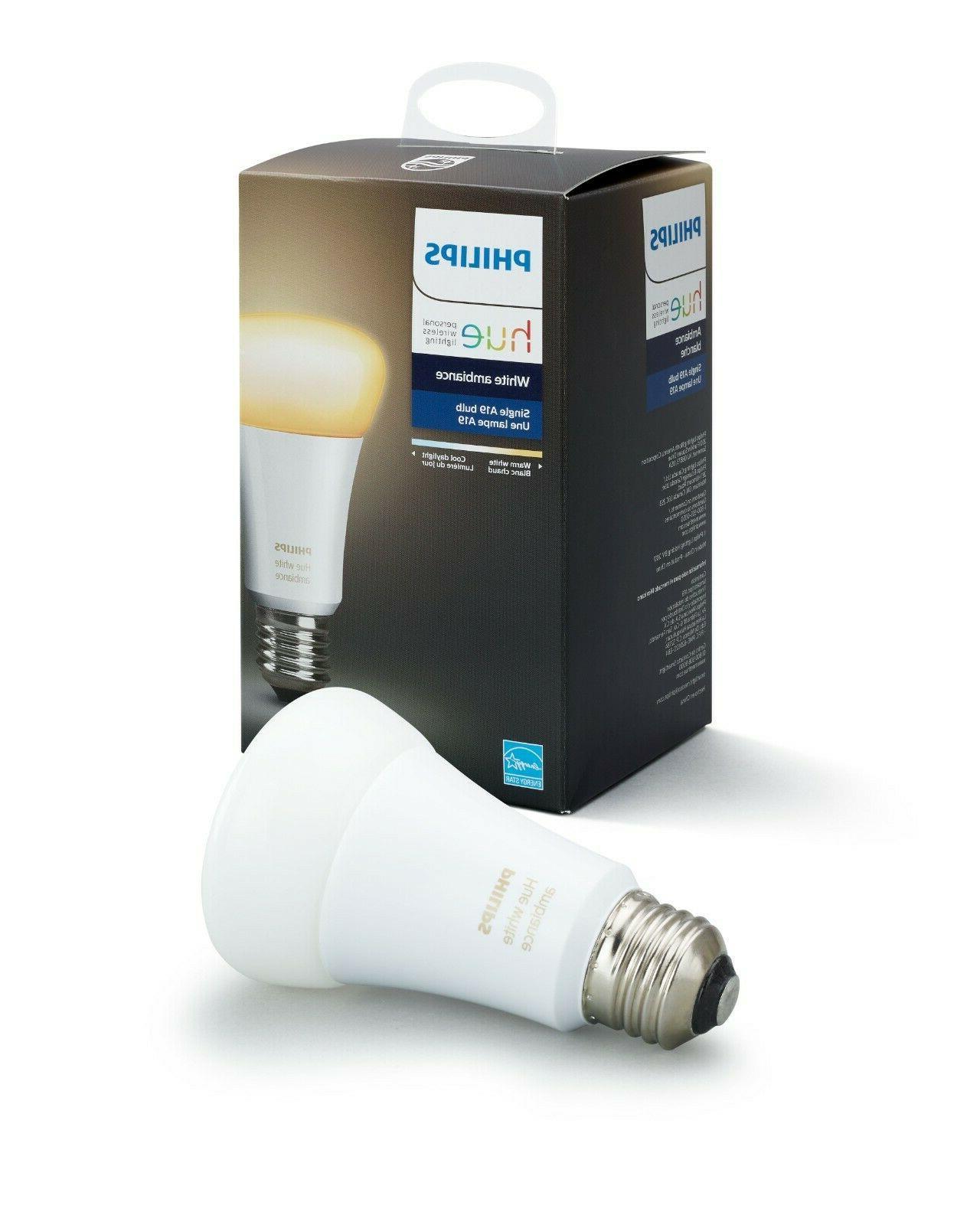 Philips Hue White Ambiance A19 Smart Light Bulb, 60W LED, 1-