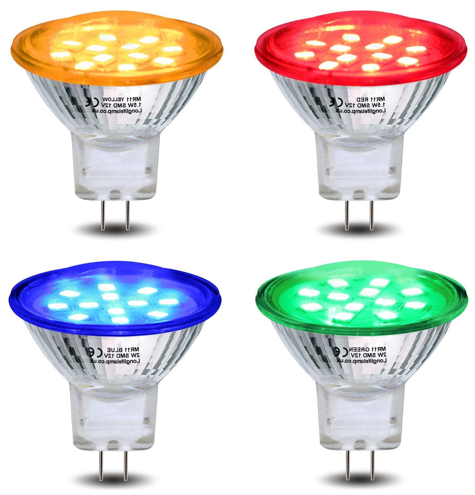 Red Green Blue Yellow 12V LED MR11 Low Voltage Light Bulb GU