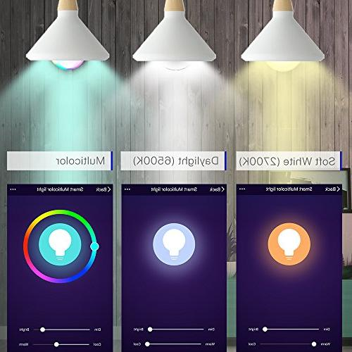 Smart Bulb, LED RGB Changing, Compatible with and Google Home No Hub A19 Pack