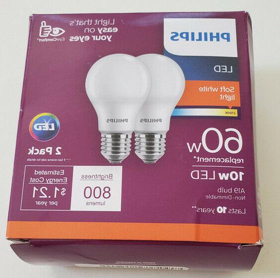 Philips LED 8.5W  Soft White Standard A19 Light Bulb, 2 CT