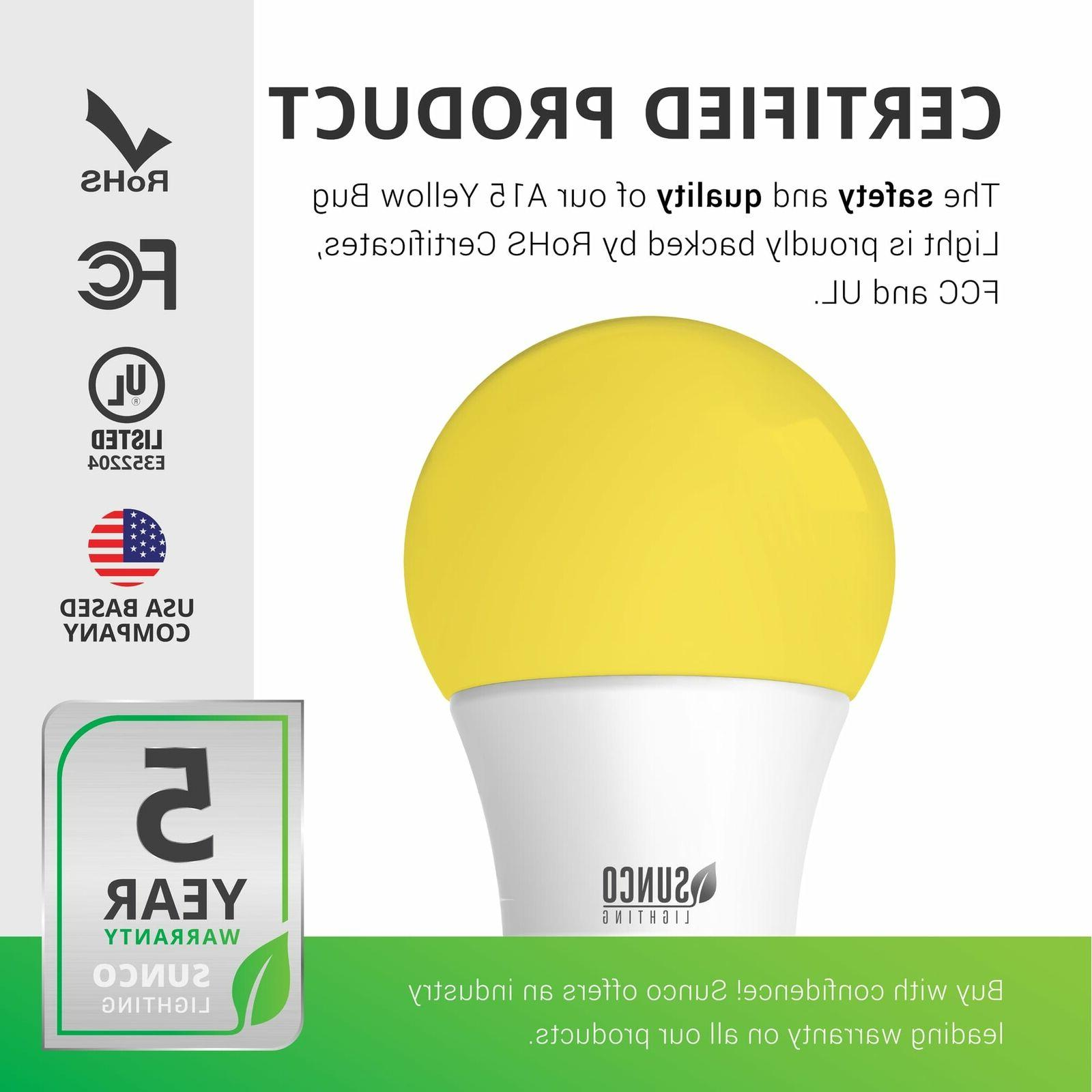 Sunco Pack Bug A15 Light Bulb 8W E26