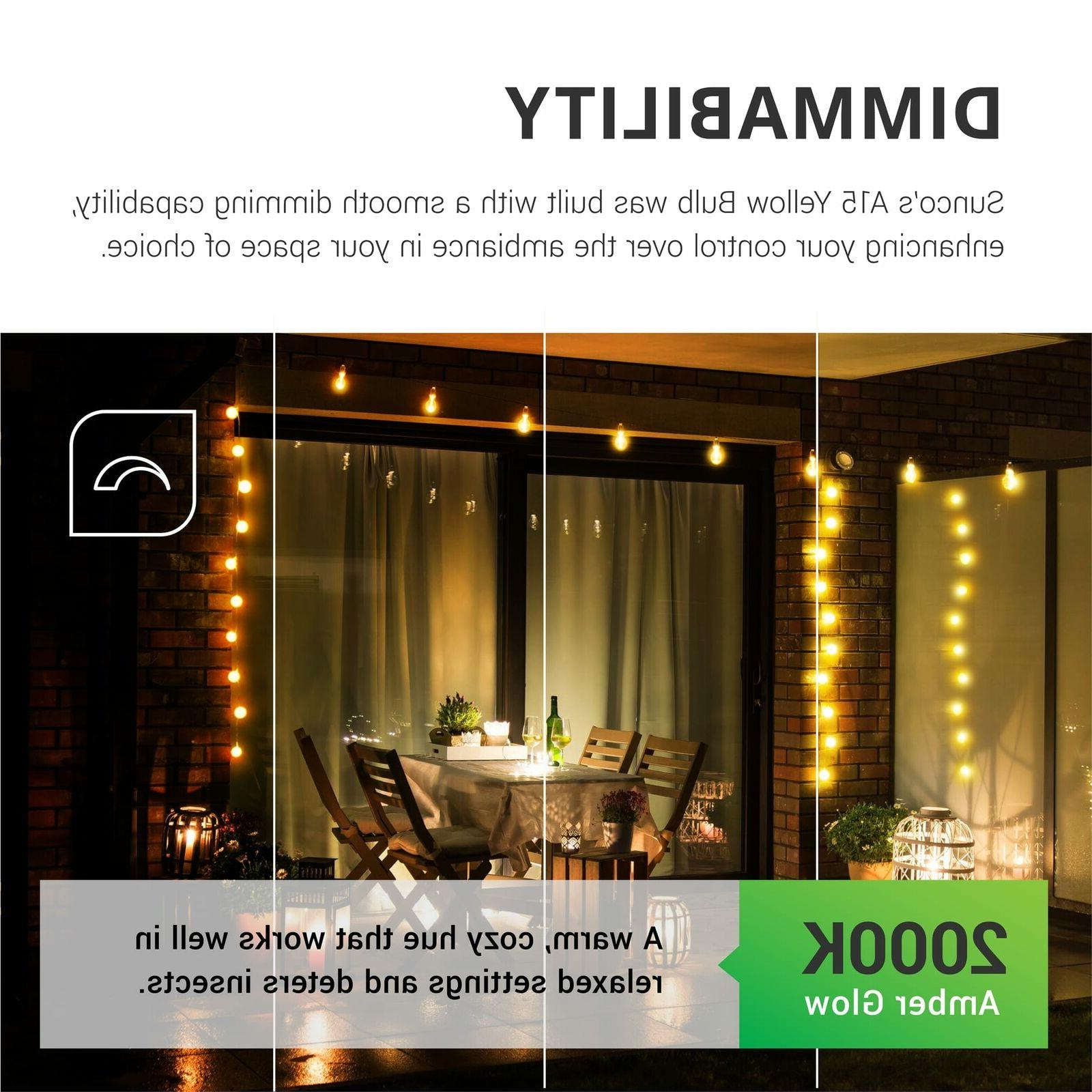 Sunco 2 Bug Repel A15 LED Light 8W 2000K E26