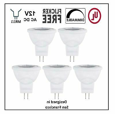 CBConcept UL-Listed MR11 GU4.0 LED Light Bulbs, 5-Pack, 2 Wa