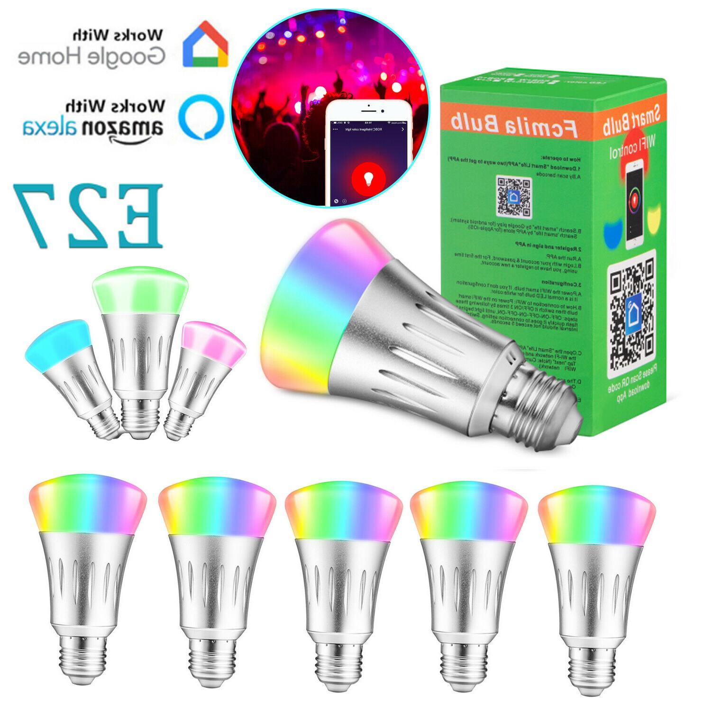 WiFi Smart Bulb Bulbs Dimmable E27 RGB For Google /Alexa/IFTTT