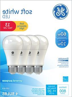 GE LED 10W Soft White General Purpose, A19 Medium Base, Dimm