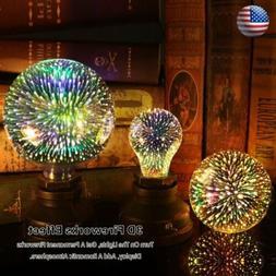LED 3D Lamp E27 AC 85V-265V LED Fireworks Lights Bulb Creati
