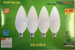 LED CANDLEabra Bulbs 4pack SoftWhite 3W=25W 270 Lumens cande