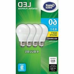 Great Value LED Light Bulb, A19, 8.5W , Lamp E26 Medium Base