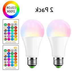 E26 LED Light Bulbs RGB Color Changing 15W A19 Warm White wi