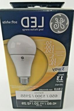 GE LED Soft White Bulb 3-Way 50 w / 100 w / 150 w Replacemen