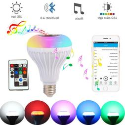 LED Wireless Bluetooth Bulb Light Speaker 12W RGB Smart Musi