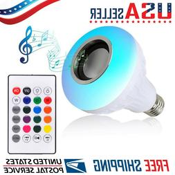 LED Wireless Bluetooth Light Bulb Speaker RGB Color 12W Musi