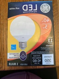 GE Light Bulb 37906 LED G25 Decorative Globe Med Base Vanity