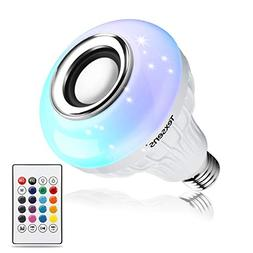 Texsens LED Light Bulb Bluetooth Speaker, 6W E26 RGB Changin