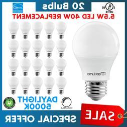 Lot Of 20 Maxlite 5.5w LED Bulb 40 watt replace A19 Daylight
