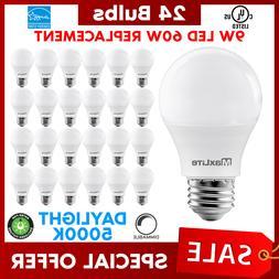 Lot Of 24 Maxlite 9w LED Bulb 60 watt replace A19 Daylight 5