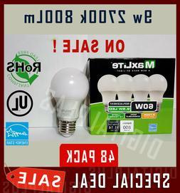 Lot Of 48 Maxlite 9.5w LED Bulb 60 watt replace A19 Soft Whi